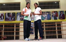 GOLD MEDALLISTS SAKSHI AND NEETU AT BHIWANI BOXING CLUB IN BHIWANI --------- PHOTO BY INDRANIL DAS