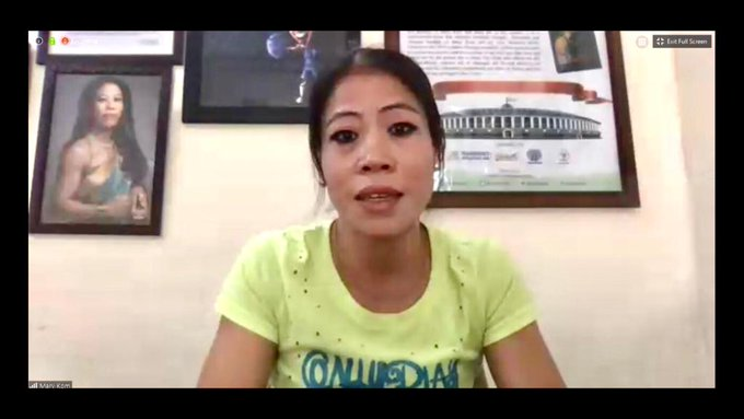 6-time world champion Mary Kom interacting with the Sports Minister