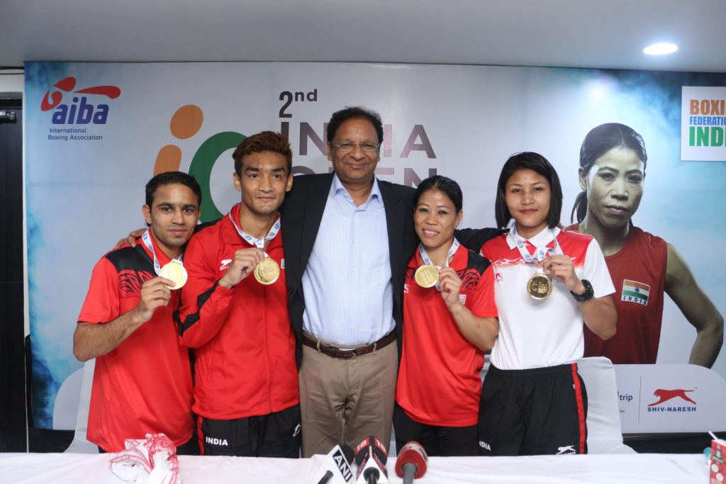 BFI President Mr. Ajay Singh with Indian boxers
