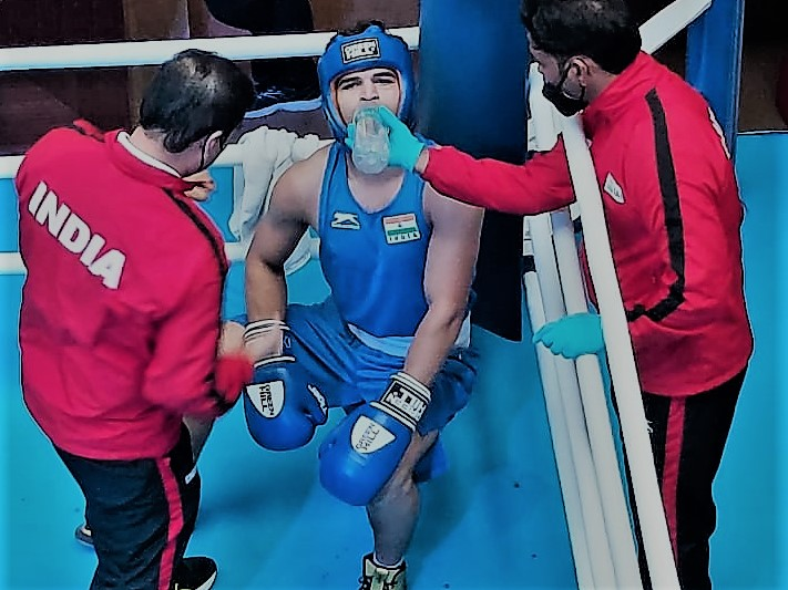 Ankit Narwal during his bout which he unanimously won to secure a place in the quarter finals