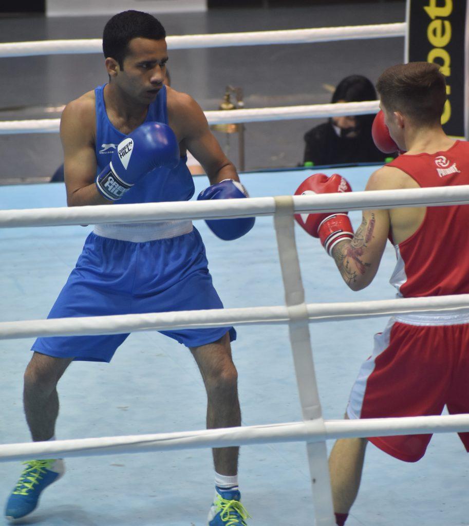 Indian boxer Deepak Kumar in action